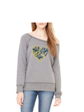 Maize Loves Blue Wide Neck Sweatshirt- Classic Grey Triblend