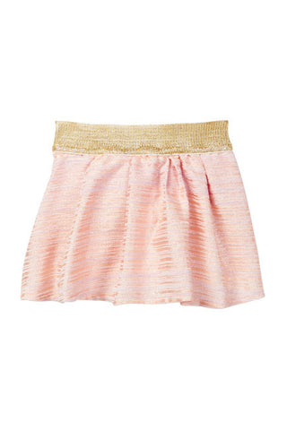 BABY SARA-Pleated Skirt with Gold Elastic Waistband