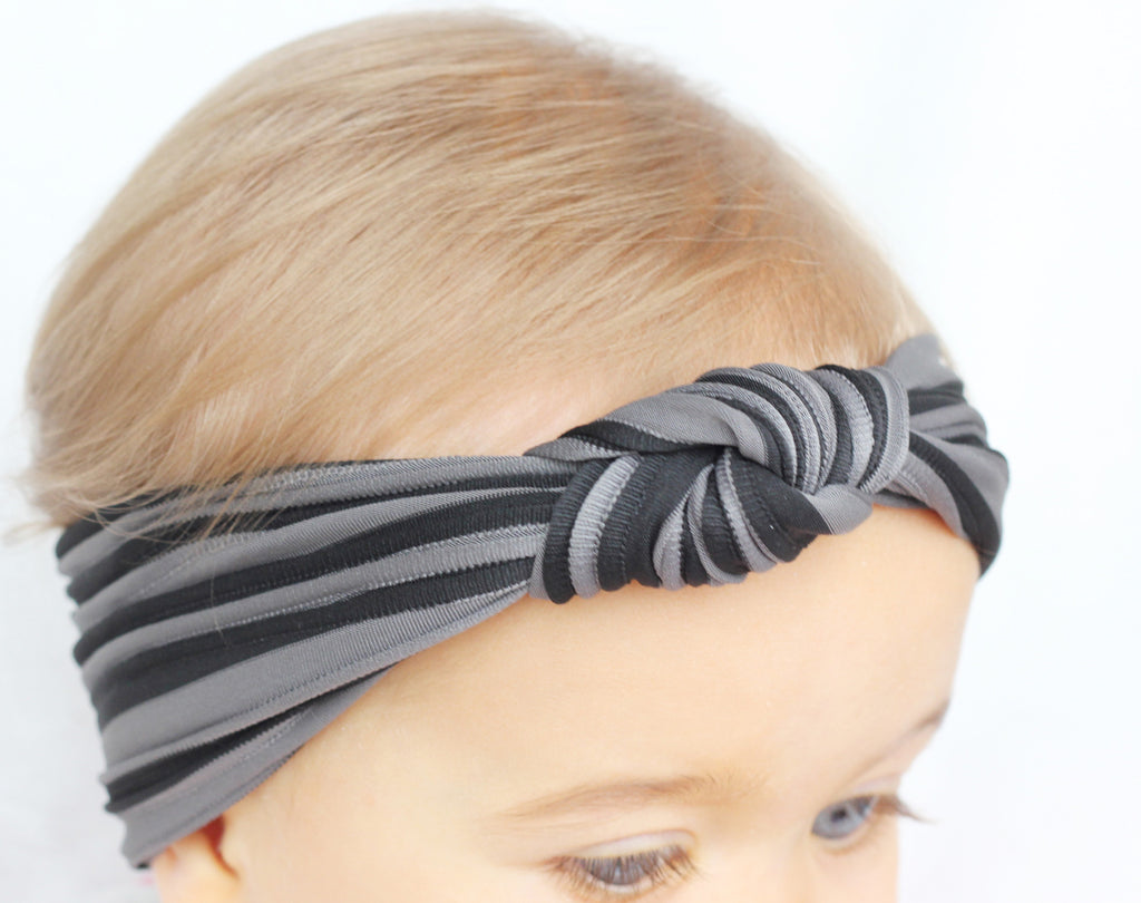 Black And Grey Striped Turban Headband