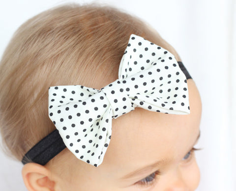 White with Black Dots Baby Bow