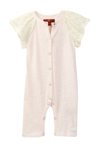 7 For All Man Kind- Pink Lace Sleeved Romper