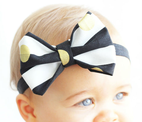 Gold Dot Baby Bow