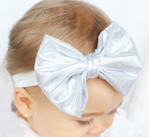 Silver Baby Bow