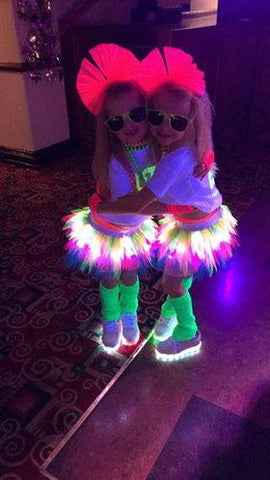 girls tutus with lights GLOW party ideas