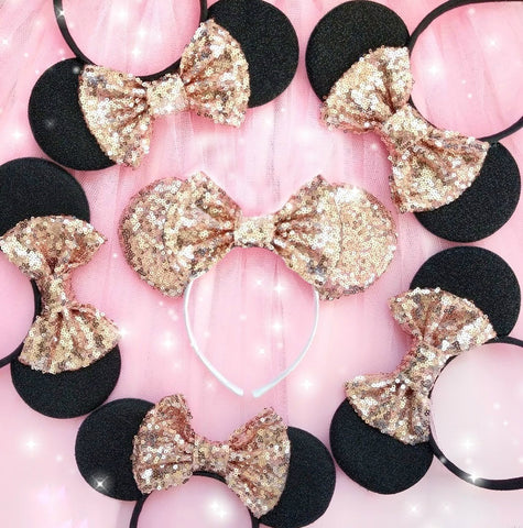 minnie mouse ears with sequin bow custom bows disney hens mouse ears