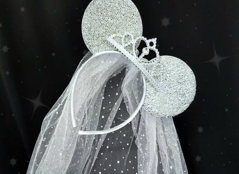 Minnie Ears With Tiara and Veil For a Disney Bride