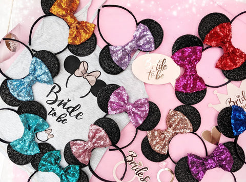 minnie mouse ears with sequin bow choose your colour disney hen party accessories fairytale bride to be