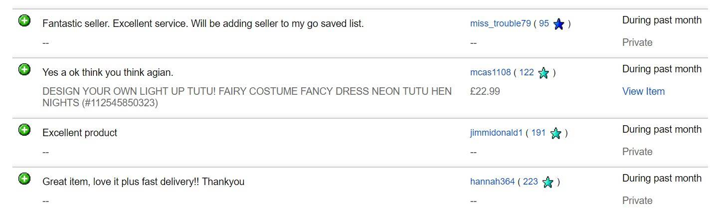 tutu factory ebay feedback june