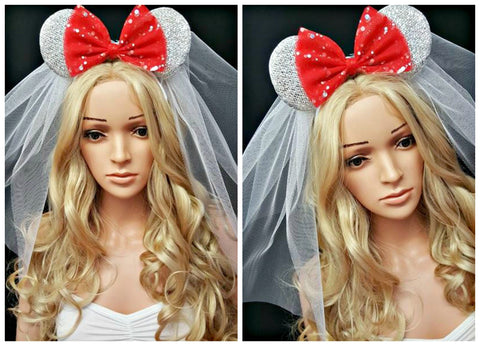 White Minnie Ears Red Bow and Veil Disney Hens