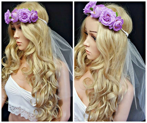 Lilac Flower Crown with Veil Festival Hen Weekend Veils