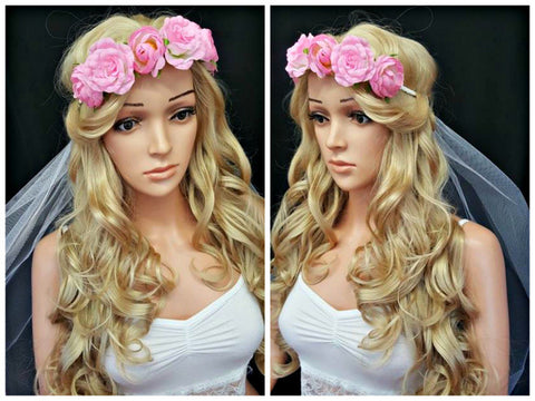 Baby Pink Rose Crown With Veil Hen Weekend