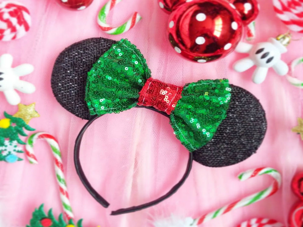 Minnie Ears with Christmas Sequin Bow