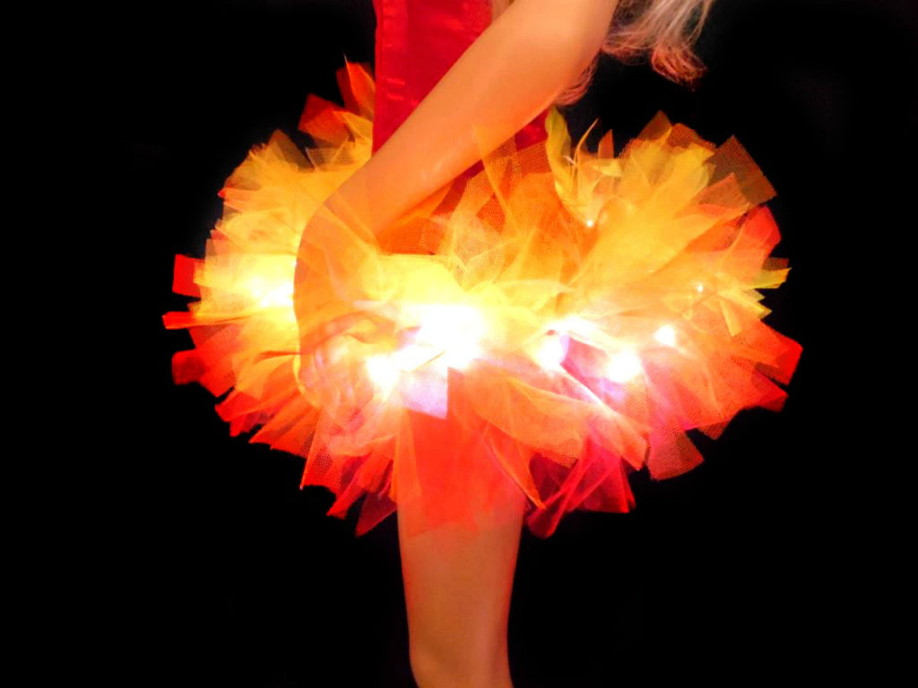Girls Light Up Fire Tutu