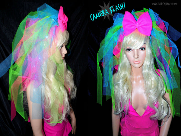 Light Up Neon Madonna Hen Night Veil
