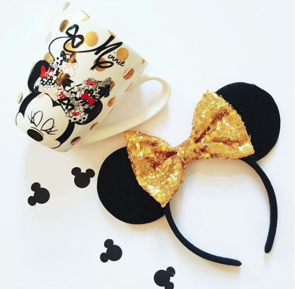 Black Minnie Ears with Sequin Bow