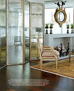 Antique Mirrored Screens Enlarge This Formal Living Room. The Other Mirrored  Pieces In The Room Include A Cocktail Table And A Mirror Above The Mantel. Part 98