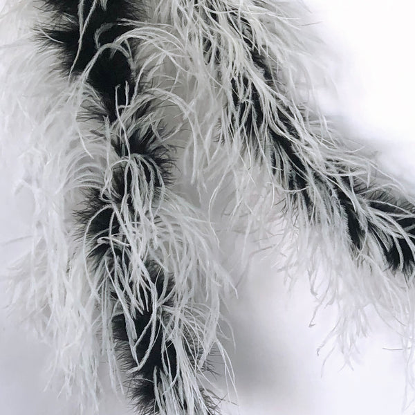 Black Marabou with White 2 Ply Ostrich Feather Boa