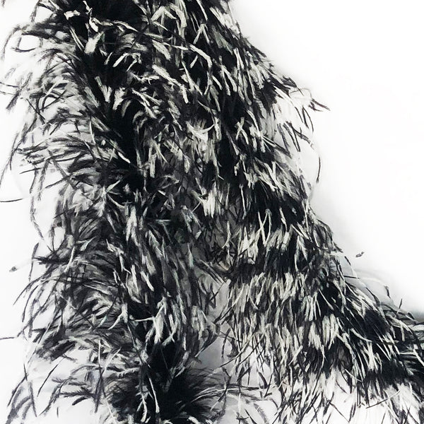 Black and White Tye Dye 2 Ply Ostrich Feather Boa