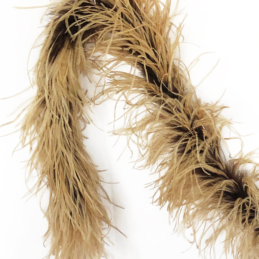 Brown with Camel 2 Ply Ostrich Feather Boa