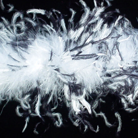 White with Black Tye Dye Curly Ostrich Feather Boa