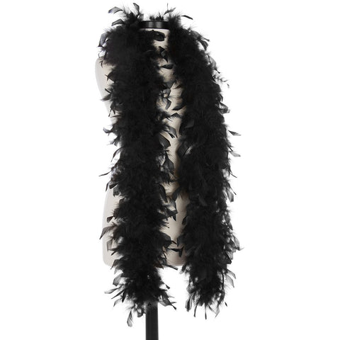 Black 40 Gram Chandelle Feather Boa on Manikin