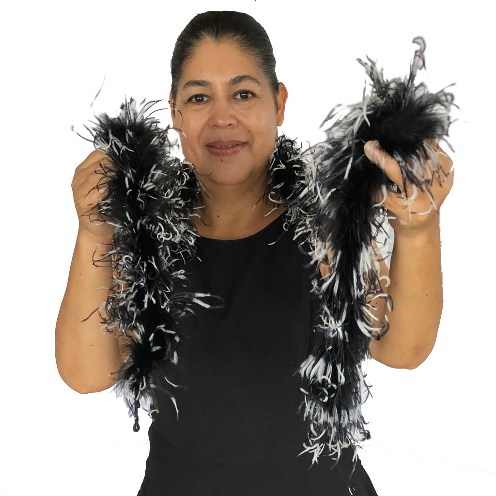Black Marabou with Black and White Tye Dye Curly Ostrich