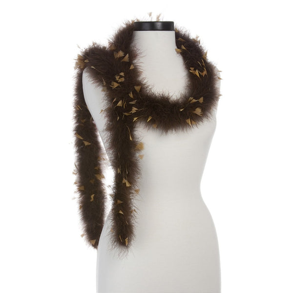 Brown with Camel Turkey 25 Gram Marabou Feather Boa on Manikin