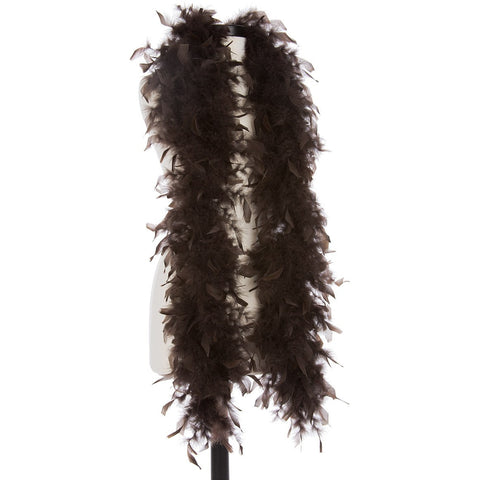 Brown 40 Gram Chandelle Feather Boa on Manikin