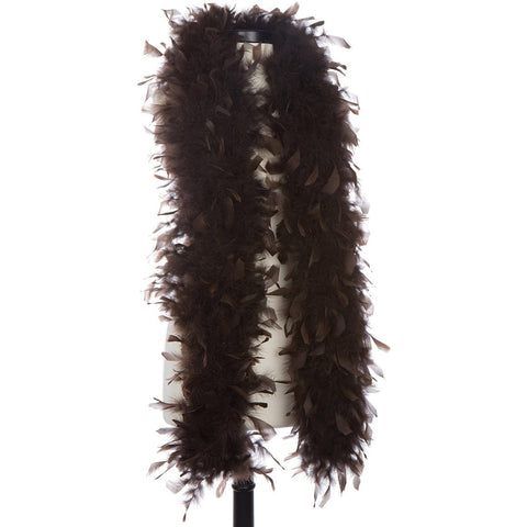 Brown 65 Gram Chandelle Feather Boa on Manikin