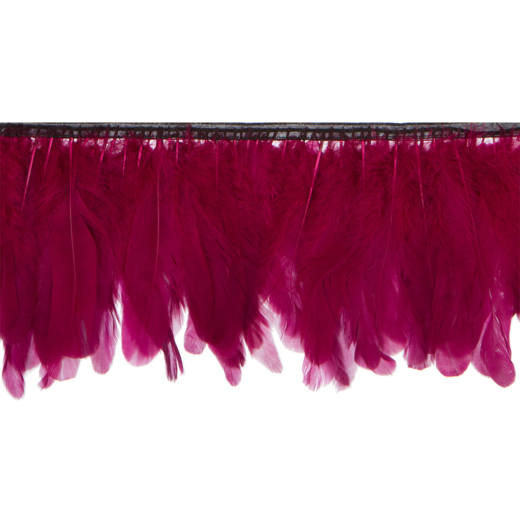 Burgundy Handmade Goose Duck Feather Trim Fringe