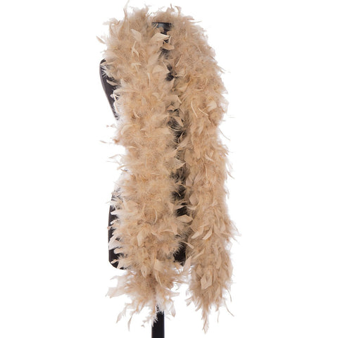 Camel 65 Gram Chandelle Feather Boa on Manikin