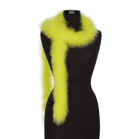 Chartreuse 25 Gram Marabou Feather Boa on Manikin