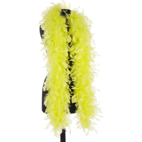 Chartreuse 40 Gram Chandelle Feather Boa on Manikin