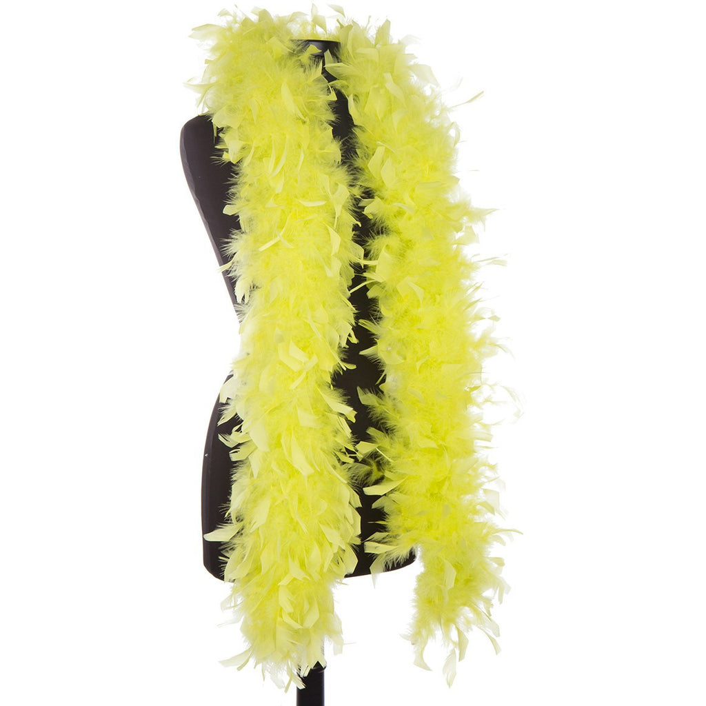 Chartreuse 65 Gram Chandelle Feather Boa on Manikin