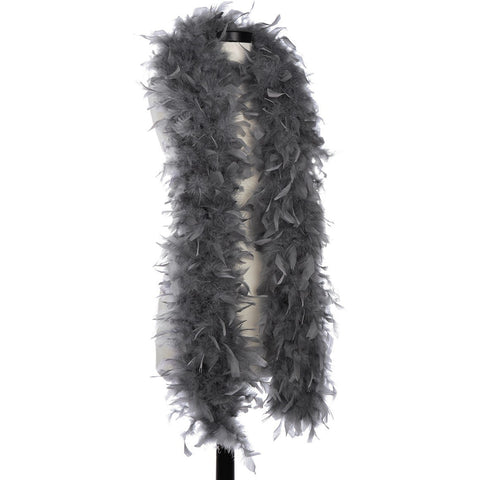Dark Grey 65 Gram Chandelle Feather Boa on Manikin