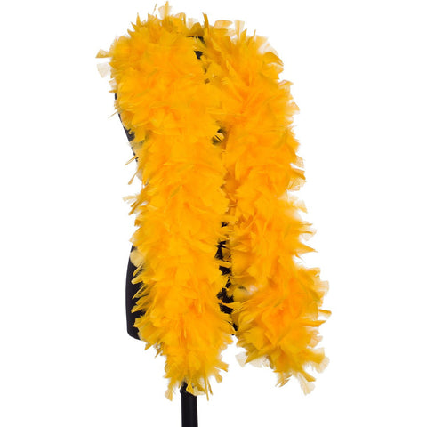 Golden Yellow 150 Gram Turkey Feather Boa on Manikin
