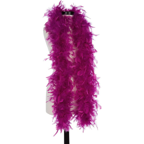 Grape 40 Gram Chandelle Feather Boa on Manikin