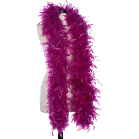Grape 65 Gram Chandelle Feather Boa on Manikin