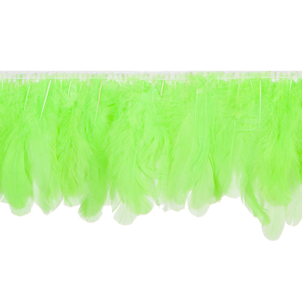 Hot Green Handmade Goose Duck Feather Trim Fringe
