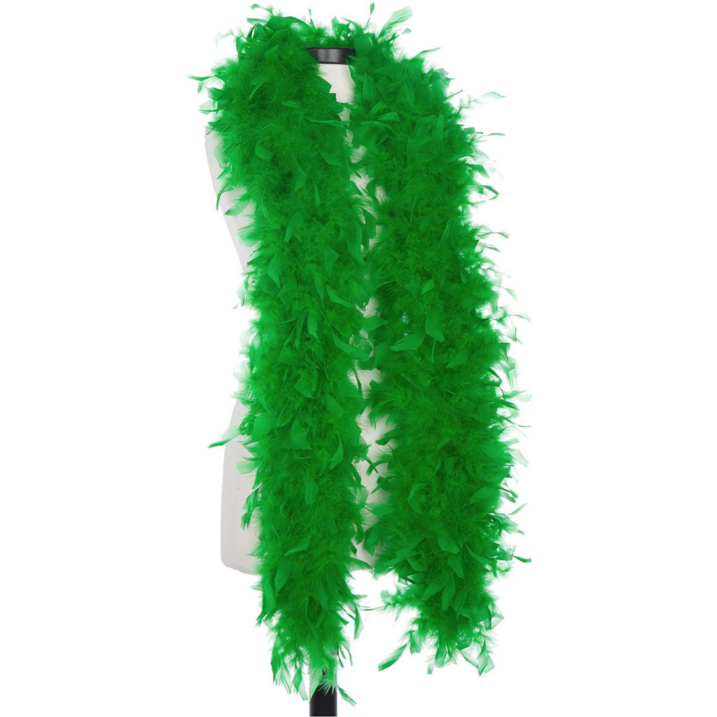Kelly Green 65 Gram Chandelle Feather Boa on Manikin