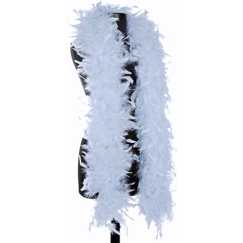 Light Blue 65 Gram Chandelle Feather Boa on Manikin