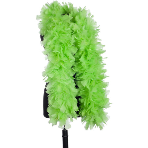 Lime Green 150 Gram Turkey Feather Boa on Manikin