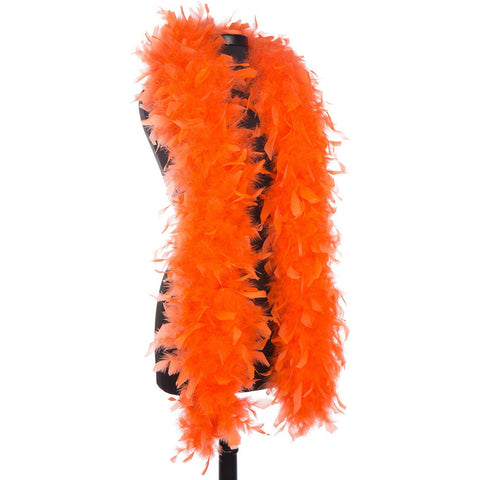 Orange 65 Gram Chandelle Feather Boa on Manikin