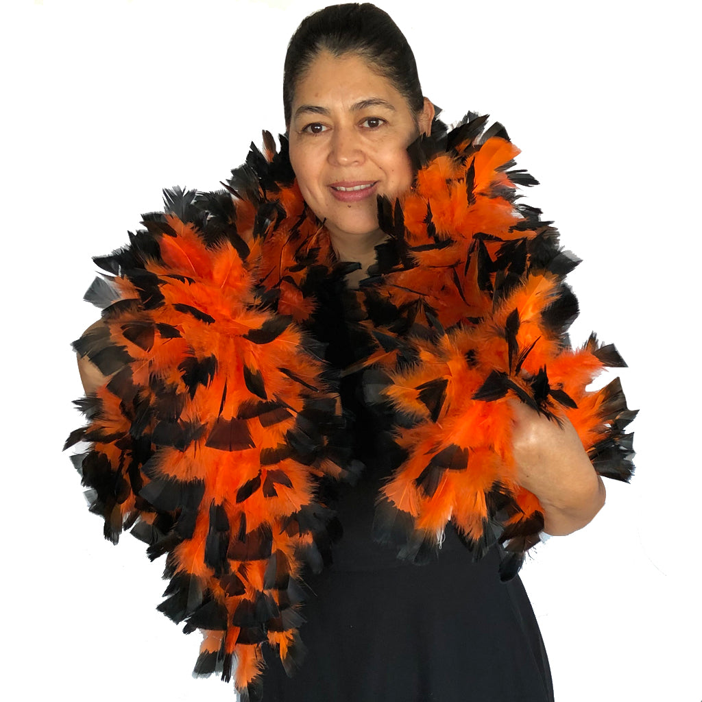 Orange with Black Tips 150 Gram Turkey Feather Boa
