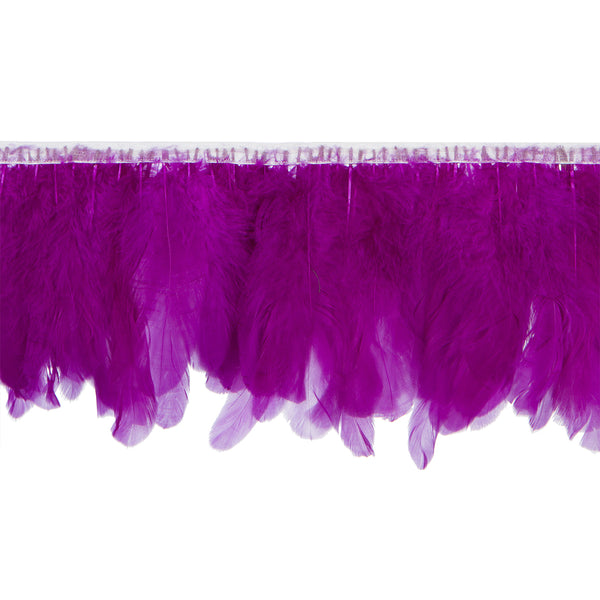 Purple Handmade Goose Duck Feather Trim Fringe
