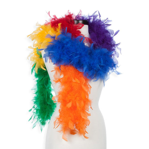 Rainbow 40 Gram Chandelle Feather Boa on Manikin