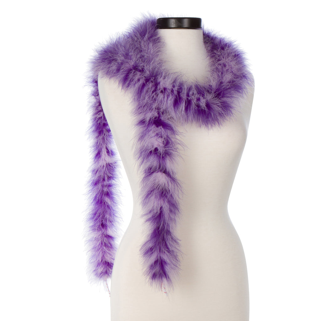 Regal Purple and Lavender Mixed 25 Gram Marabou Feather Boa on Manikin