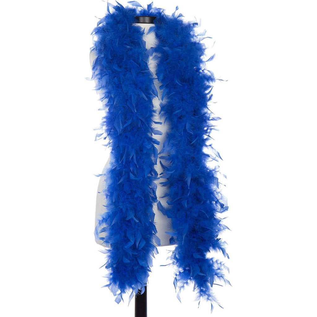 Sapphire - Royal Blue 65 Gram Chandelle Feather Boa on Manikin