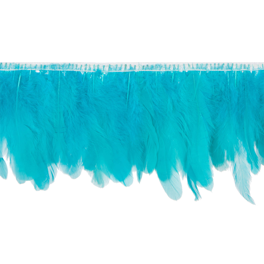 Turquoise Green Handmade Goose Duck Feather Trim Fringe