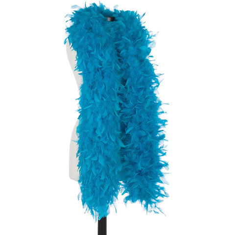 Turquoise 120 Gram Chandelle Feather Boa on Manikin